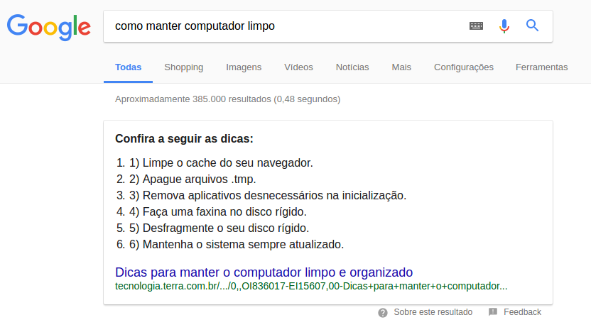 Featured Snippet - exemplo computador